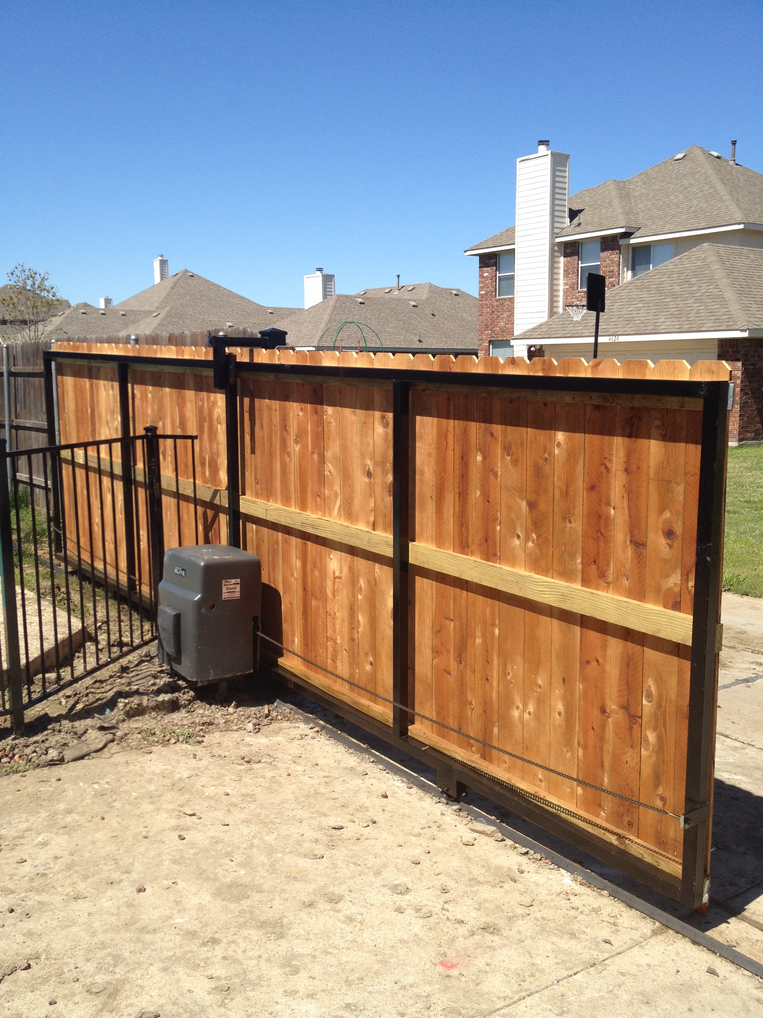 Fence gates wood fence sliding gate for Wooden sliding driveway gates